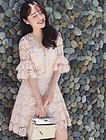 Damen Hülle Kleid-Ausgehen / Lässig/Alltäglich / Urlaub Sexy / Einfach / Niedlich Blumen Rundhalsausschnitt Übers Knie ½ Länge Ärmel Rosa