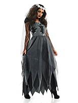 Costumes Zombie / Esprit Halloween / Carnaval / Fête d'Octobre Noir / Gris Vintage Térylène Robe / Casque