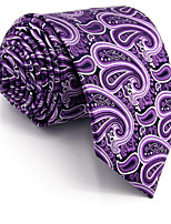 Men's Necktie Tie 100% Silk Purple White Paisley Jacquard Woven Dress For Men Wedding