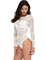 Women Teddy Nightwear,Polyester / Spandex Paisley Sheer Lace Bodysuit