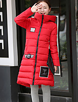 Women's Long Padded Coat,Simple Casual/Daily Print-Polyester Polyester Long Sleeve Hooded Red / White / Black / Gray / Green