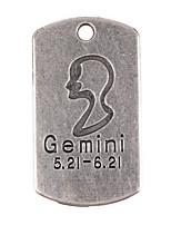 10pcs New Alloy Parts Twelve Constellation Gemini Square Accessories