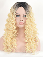 Women's Fashion Black Blonde Mix Color Long Curly Synthetic Wigs for Women