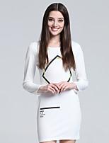 Damen Bodycon / Hülle / T Shirt Kleid-Übergröße / Party/Cocktail / Klub Sexy / Einfach / Niedlich Geometrisch RundhalsausschnittÜbers