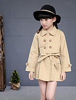 Girl's Casual/Daily Solid Trench Coat,Cotton / Rayon Winter / Spring / Fall Blue / Pink / Beige