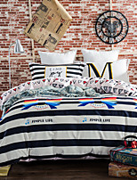 Black and white striped   bedding sets Queen King size Bedlinen printing sheets pillowcases Duvet cover sanding Cotton