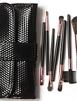 7 Makeup Brushes Set Synthetic Hair Portable Wood Face Others