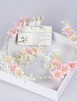 3PCS Pink Beautiful Rose Flower Wreaths Headband Hair Combs for Lady Wedding Party Holiday Hair Jewelry