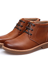 Men's Boots Winter Combat Boots / Round Toe Leather Casual Flat Heel Lace-up Black / Brown / Camel Others