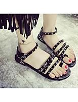 Women's Sandals Summer Sandals PU Outdoor Flat Heel Rivet / Buckle Black / Silver Others