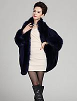 Women's Plus Size Vintage Long Cloak / Capes,Patchwork Blue / Red / Beige / Black / Purple  Wool / Acrylic Winter Medium