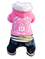 Cat / Dog Coat / Jeans Blue / Pink Winter / Spring/Fall Letter & Number Sports / Keep Warm, Dog Clothes / Dog Clothing
