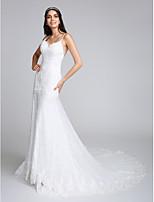 Lanting Bride® 트럼펫 / 머메이드 웨딩 드레스 채플 트레인 스파게티 스트랩 레이스 와 아플리케 / 레이스