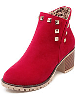 Women's Shoes Winter Motorcycle Boots / Round Toe Boots Dress / Casual Chunky Heel Rivet Black / Yellow / Red / Beige
