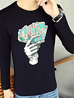 Herren T-shirt-Druck Freizeit Baumwolle Lang-Schwarz / Weiß