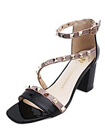 Women's Sandals Summer / Fall Open Toe Synthetic Dress Chunky Heel Rivet Black / Pink / Red / White Others
