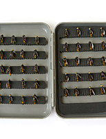 Anmuka 40pcs/lot Fly Fishing Lure Set Single Hook Artificial Insect Bait Trout Fly Fishing Hooks Tackle With Plastic Box