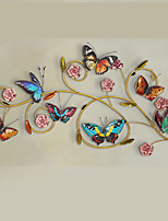 E-HOME® Metal Wall Art Wall Decor,Purple Flowers And Colorful Butterflies Wall Decor One PCS