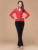 Latin Dance Outfits Women's Training Cotton / Milk Fiber Embroidery 2 Pieces Fuchsia / Light Red Long Sleeve Top / Pants