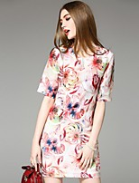 Boutique S Women's Going out Street chic Sheath Dress,Print Round Neck Above Knee ½ Length Sleeve Pink Linen Summer