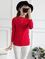 Women's Casual/ Pullover,Solid Red / White / Black / Brown / Gray Boat Neck Long Sleeve Cotton Fall / Winter Medium