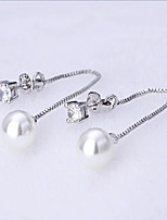 S925 silver shiny Pearl Earrings long tassel zircon