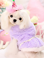 Dog Hoodie Pink / Purple Winter / Spring/Fall Solid Casual/Daily Dog Clothes / Dog Clothing-Other
