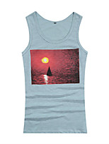 Men's Print Casual Tank TopsCotton Sleeveless-Blue / White