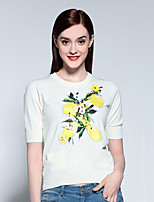 Mary Yan & Yu  Women's Going out Sophisticated Regular Pullover,Floral Red / White Round Neck ½ Length Sleeve Cotton