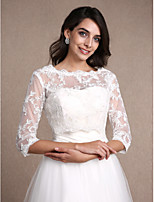 Women's Wrap Shrugs 3/4-Length Sleeve Lace Ivory Wedding / Party/Evening Scoop 30cm Lace Pullover