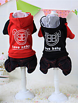 Dog Hoodie Red / Black Winter / Spring/Fall Solid / Letter & Number Casual/Daily Dog Clothes / Dog Clothing-Other