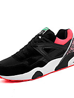 Women's Shoes Cowhide / Faux Suede / Tulle Spring / Fall Comfort Sneakers Athletic Flat Heel Lace-up Black / Red