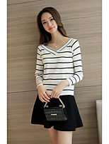 Women's Going out /  Cute Regular Pullover,Striped White / Black V Neck Long Sleeve Cotton Spring / Fall Medium