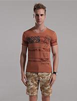 Herr D® Herren V-Ausschnitt Kurze Ärmel T-Shirt Braun / Dunkelgrau / Hellgrau-2