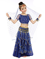 Belly Dance Outfits Children's Performance Chiffon Gold Coins Sequin 7 Pieces Fuchsia / Light Blue / Purple / Royal Blue