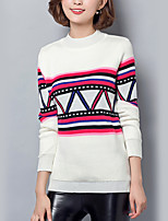 Women's Casual/Daily Street chic Regular Pullover,Striped White Round Neck Long Sleeve Cotton Fall Medium