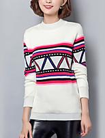 Damen Standard Pullover-Lässig/Alltäglich Street Schick Gestreift Weiß Rundhalsausschnitt Langarm Baumwolle Herbst Mittel