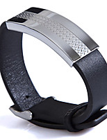 Fashion Men's The Grain Pattern 316L Stainless Steel Leather Bracelets