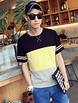 Men's Color Block Casual / Sport / Plus Sizes T-Shirt,Cotton Short Sleeve-Yellow