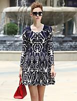 iloveknitting женщин происходит из мило платье свитер, жаккардовые выше шеи ˙U колена длинным рукавом синие другие падают
