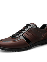 Men's Flats Spring / Fall Round Toe PU Outdoor Flat Heel Lace-up Black / Brown Others