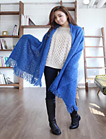 Hippocampus Wool Fringed Hollow Solid Color Thickening Lengthen Female Scarf Shawl