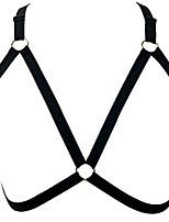 Women Ultra Sexy Halter Harness Bra Cage Nightwear,Polyester Black
