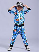 Boy's Cotton Spring/Autumn Fashion Hip-hop Patchwork Costume Long Sleeve Hoodie Coat And Hallen Pants Sport Suit