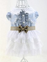 Spring and Summer Sweety Jean Mesh Princess Dress with Bowknot Pets Clothing for Pets Dogs Lovely Dog Skirts
