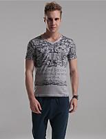 Herr D® Herren V-Ausschnitt Kurze Ärmel T-Shirt Blau / Braun / Hellgrau-3