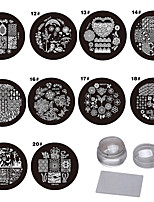 10PCS   Nails  Coloured Drawing Or Pattern Purple Circular Plastic The Template  2 Send Senior Transparent The Seal