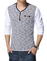 Men's European Style Stitching Long Sleeved T-Shirt,Cotton / Spandex Long Sleeve-Blue / White / Gray