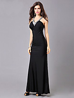 Formal Evening Dress Trumpet / Mermaid V-neck Floor-length Polyester with Beading
