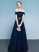 Formal Evening Dress A-line Off-the-shoulder Floor-length Satin with Beading